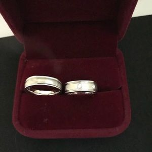 Jewelry - Two 14 k white gold diamond wedding bands